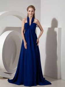 Halter Watteau Train Chiffon Prom Dress Navy Blue Empire