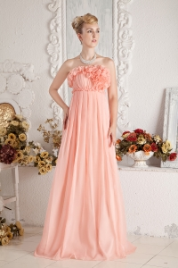 Pink Empire Strapless Prom Party Dress Chiffon Ruch