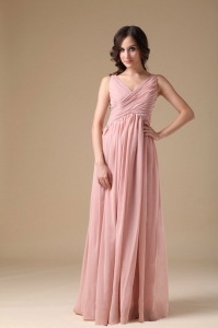 Prom Dress Pink Floor-length V-neck Chiffon Ruch