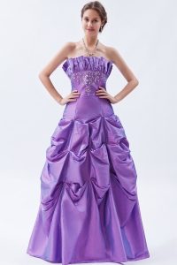 Embroidery Prom Dress in Purple A-line Strapless