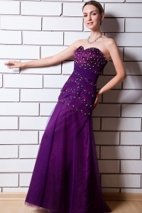 Purple Sequins Prom Dress A-line Sweetheart Tulle Taffeta