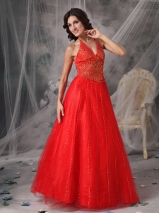 Beading Appliques Prom Dress Red A-line Halter Tulle