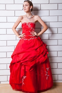 Strapless Floor-length Red Prom Dress Taffeta Appliques