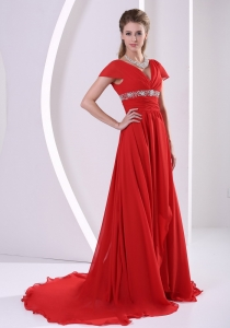 Cap Sleeves Court Train Red Prom / Evening Dress Beaded