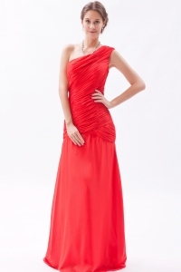 One Shoulder Red Chiffon Prom Dresses Column Ruch