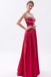 Red Embroidery Beading Prom Party Dresses Sheath
