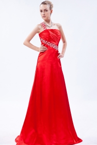 Red One Shoulder Prom Dresses Brush Beading Ruch