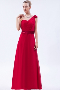 One Shoulder Red Ruch Prom Dress Column Floor-length