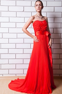Brush Train Chiffon Red Pleat Prom Dress Column Strapless