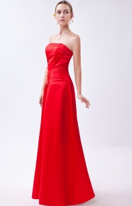 Strapless Red Prom Dress Column Satin Beading Appliques