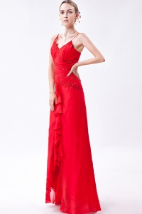 Red Prom Dress Column Straps Chiffon Beading for 2013