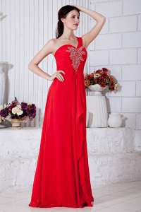 Prom / Evening Dress in Red One Shoulder Chiffon Beading