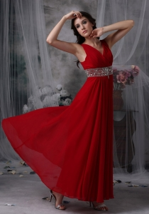 V-neck Ankle-length Beading Red Prom / Evening Dress