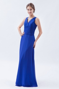 Royal Blue V-neck Prom Dress Column Chiffon Ruch