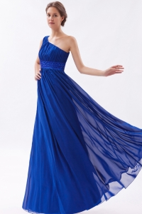 Chiffon Beading Prom Dress Royal Blue One Shoulder
