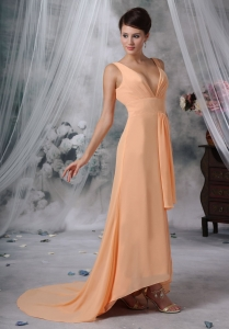 High Slit Prom / Evening Dress High-low Light Orange