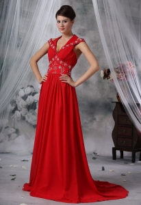Beaded Prom / Evening Dress Red Chiffon Ruched Brush