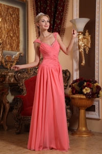Watermelon Sheath Prom Dress V-neck Chiffon Beading