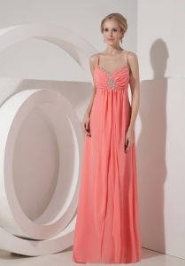 Straps Beading Watermelon Red Prom Dress Empire Chiffon