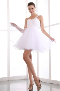One Shoulder White Prom Dress Mini-length Organza Beading