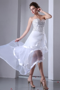 High-low Organza Beading Prom Dress White A-line