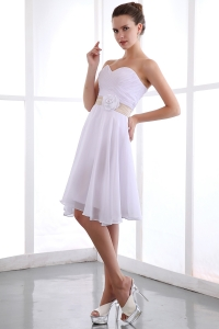 Chiffon Hand Made Flower Prom Dress White Knee-length
