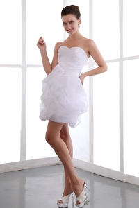 White Sweetheart Mini-length Prom Dress Taffeta Organza