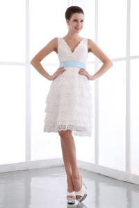 White A-line Lace Sash Prom Dress V-neck Mini-length