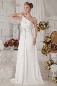 One Shoulder Brush White Prom Dress Chiffon Beading