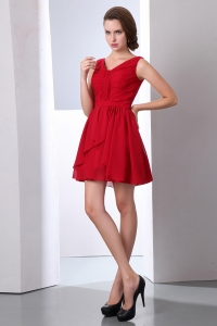 Mini-length Chiffon Prom Dress Ruched Wine Red V-neck