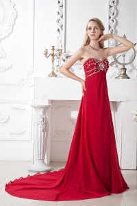 Sweetheart Wine Red Beading Prom Dress Court Train