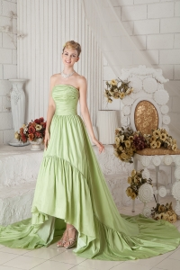 Chapel Train Taffeta Ruch Prom Dress Yellow Green A-line