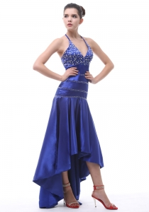 Halter Beaded High-low Royal Blue Prom Dress In 2013