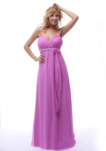 Beaded Chiffon Prom Dress Lavender Spaghetti Straps Ruch