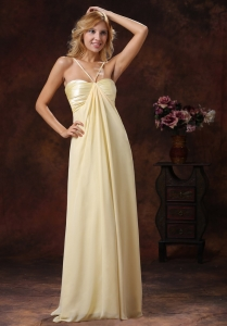 2013 Light Yellow Straps Ruched Prom Dress Chiffon