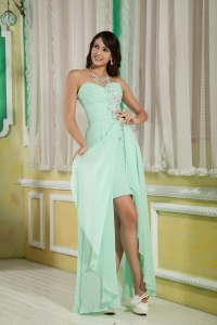 High-low Chiffon Beading Prom Dress Apple Green