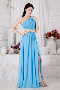 Belt Aqua Blu Prom / Evening Dress e One Shoulder Chiffon