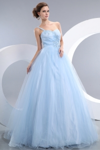 Baby Blue One Shoulder Prom / Evening Dress Tulle Appliques