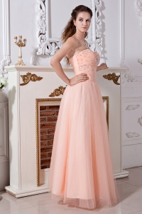 Tulle Beading Prom Dress Baby Pink Empire Sweetheart