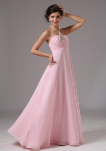 Empire Baby Pink Halter Prom Dress Beaded For 2013