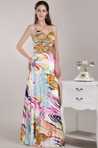 Multi-color Prom Dress Print Beading Straps Empire