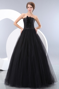 Strapless Black Tulle Prom / Evening Dress A-line