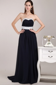 Chiffon Beading Prom / Evening Dress Black Brush