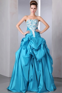 Beading Appliques Prom Dress Blue A-line Strapless