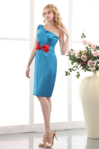 One Shoulder Blue Mini-length Prom Dress Taffeta Bow