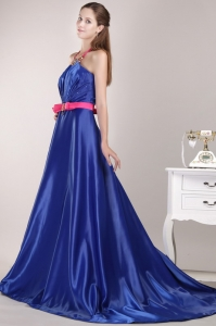 Halter Brush Royal Blue Prom / Pageant Dress Beading Sash
