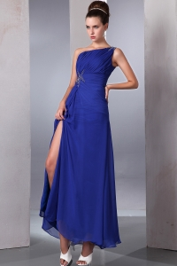 Ankle-length Blue Chiffon Beading Prom Dress One Shoulder