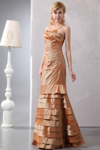 Straps Taffeta Beading Prom Dress Brown Ruch Layers