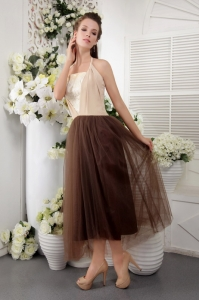 Tea-length Tulle Lace Brown Prom Dress Empire Halter