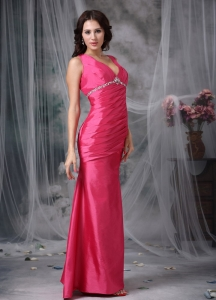 Ankle-length Coral Red Beading Prom Dress V-neck